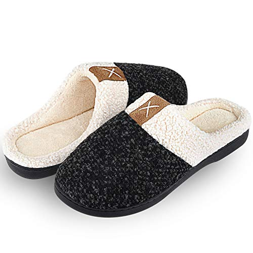Winter Hausschuhe Damen Herren Wärme Plüsch Bequem Pantoffeln Memory Foam Rutschfeste Home Leichte Slippers für Drinnen und Draußen(Pures Schwarz,40/41 EU)