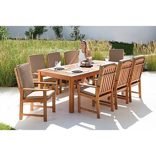 baumarkt direkt Gartenmöbelset Vancouver, 17-tlg, 8 Sessel, Tisch 220x110 cm, Eukalyptusholz, braun braun