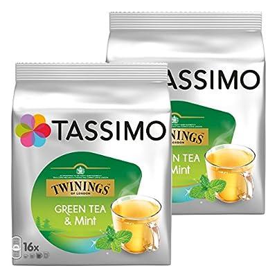Tassimo Twinings Thé Vert à la Menthe, Lot de 2, 2 x 16 T-Discs