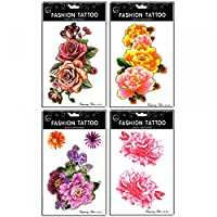 Wonbeauty Fake and real temp tattoo stickers 4pcs different colorful roses and peony temporary tattoo in a package