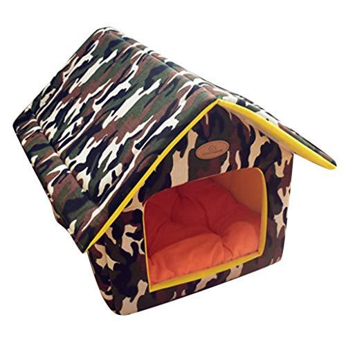 VNEIRW Kreativ Hundehöhle mit Mat, Blumen Tarnung Drucken Warm Katzenhöhle, Hundebett, Katzenkorb, Hundehütte, Hundekorb, Hausnest, Haustierstreu, Kleines Haus für Innen Outdoor (M, AG)
