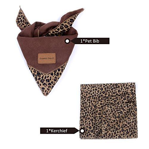 SWEET DEVIL Pet Bandana Verstellbare Halstuch für Hunde Cute Schal Zubehör 2 in Pack,Dschungel,Leopard