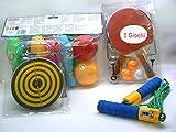 Kit jouets à la zone ouverte entre dont booling, sautez la corde avec compteur marque, sauts fléchettes Ping Pong (Tennis de Table) et autres