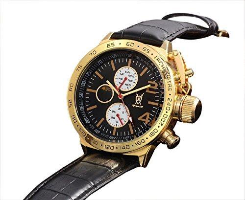 Konigswerk Herren Klassischen Schwarz Leder Uhr Gold Gehäuse Multifunktions-Tag Datum Sonne Mond Zifferblatt AQ201767G