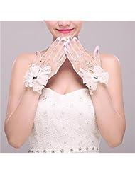 DELLT- Gants de mariée de fleur de dentelle blanche grande court paragraphe se réfère à l'ensemble coréen exquis accessoires de mariage gants