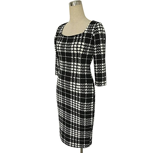 Minetom Femmes Automne Hiver Graffiti Impression Manches 3/4 Robes Bureau des Affaires Pencil Bodycon Party Cocktail Dress Plaid
