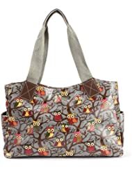 Anladia Grand Sac a Main Epaule Style Cabas en Toile Imprime Florale Neuf Gris