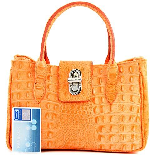 modamoda de - ital. Ledertasche Damentasche Handtasche kleine Tragetasche Leder Klein TL03 Kroko Orange