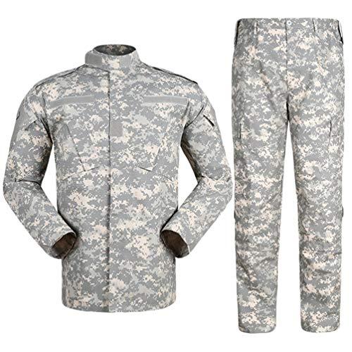 Zhiyuanan Herren Tactical Camouflage Uniform Anzug 2 Stück Sets Outdoor Jagd Trekking Camping Militär Kampf Wasserdichte Wandern Jacken + Camo Hosen Tarnmuster Kleidung ACU M -