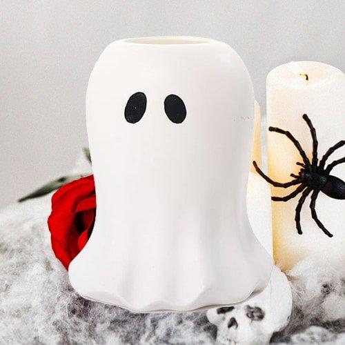 Yankee Candle Glowing Ghost Kerzenhalter, Keramik, weiß, 12 x 12 x 14 cm