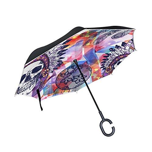 jstel doble capa puede calavera Chief y Lacy Atrapasueños paraguas coches Reverse resistente al viento lluvia paraguas para coche al aire libre con asa en forma de C