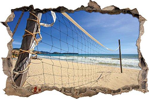 Preisvergleich Produktbild Pixxprint 3D_WD_2546_92x62 Volleyballnetz am Strand Wanddurchbruch 3D Wandtattoo,  Vinyl,  bunt,  92 x 62 x 0, 02 cm