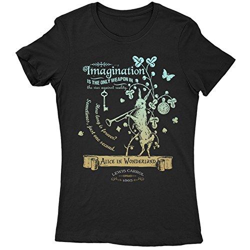 Flamentina 5016L Alice In Wonderland Womens T-Shirt Lewis Carroll White Rabbit Cheshire Cat Fantasy Children Adventures