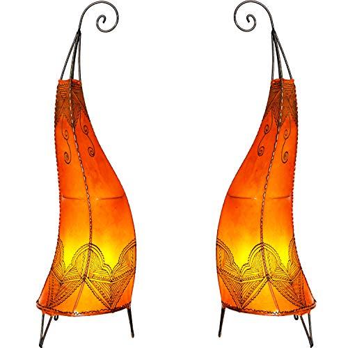 2er SET Orientalische Tischlampe Arif 70cm Lederlampe Hennalampe Lampe   Marokkanische kleine Nachttischlampe aus Metall Lampenschirm aus Leder   Zwei Tischlampen Farbe Orange