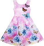 Mädchen Kleid Rose Blume Drucken Schmetterling Stickerei Lila Gr.134