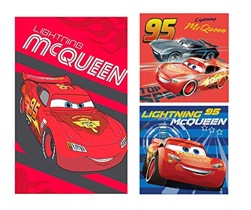 DisneyCars - Lightning McQueen - Cars Handtuch Set (3er Pack) : Cars 1 x Gesichtstuch, 2 x Handtuch/Waschlappen Geschenk für Jungen (Cars 05)