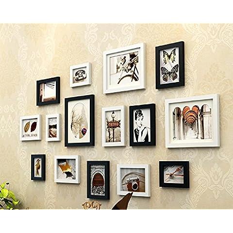 GYN Parete in legno massello continentale foto cornice combinazione Decor Foto Vintage montato combinazione creativa foto parete soggiorno camera da letto sfondo foto parete 15 Boxes , B