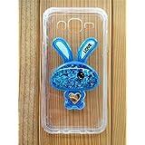 Funda (case - cover) de silicona flexible y resistente diseño conejo purpurina para Samsung Galaxy Grand Prime G530 - Azul