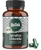 Spirulina Chlorella Bio - 1800mg Höchste Tagesdosis - 150 Kapseln a 600 mg - Premium Bioqualität - vegan - OHNE Magnesiumstearat - Abgefüllt und Kontrolliert in Deutschland (DE-ÖKO-005)
