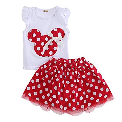 Baby Mädchen Kleidung Sets, Kleinkind Minnie Rüschen Tops Polka Dots Tutu Röcke Kostüm 2 Stück Outfits Sets (Rot, 3-4T) Mädchen Rüschen Set