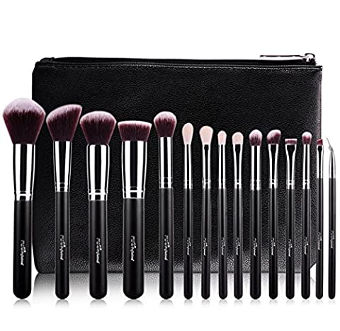 MSQ® Makeup Brush Set 15pcs Professional Cosmetic Brushes with Luxury PU Leather Makeup bag, Soft Natural / Synthetic Hair for Foundation, Powder, BB Cream, Eyeliner,