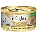 Gourmet Gold Katzenfutter Terrine mit Gemüse mit Huhn, Karotten und Zuccini, 12er Pack (12 x 85 g) Dosen
