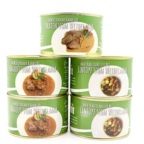 Diem Lamm Paket - Osterlamm - Ostersonntags Menü (Weideland) (2 x Lammeintopf / Irish Steh, 2 x Lammragout ,1 x Lammbraten) 5 x 400g Konserve