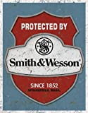 Blechschild Protected By Smith & Wesson 31x41