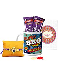 Tied Ribbons Rakhi Combo for Brother (Designer Rakhi with Rakshabandhan Special Printed Coffee Mug and 2 Dairy Milk Chocolates, Roli Chawal)