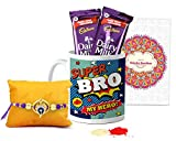 #8: Tied Ribbons Rakhi Combo for Brother (Designer Rakhi with Rakshabandhan Special Printed Coffee Mug and 2 Dairy Milk Chocolates, Roli Chawal)