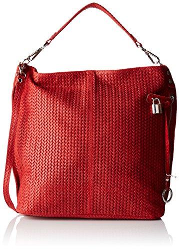 Damen 80051 Umhängetasche, Rot (Rosso), 44x45x15 cm Chicca Borse
