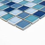 Fliesen Mosaik Mosaikfliese Bad Keramik Quadrat blau Mix glänzend 6mm Neu #242