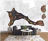 YUANLINGWEI Benutzerdefinierte Fototapete Wandbild 3D Geprägte Fisch Abstrakte Linien Muster Geeignet Für Wohnzimmer Dekoration Wandbild Tapete,210Cm (H) X 290Cm (W)