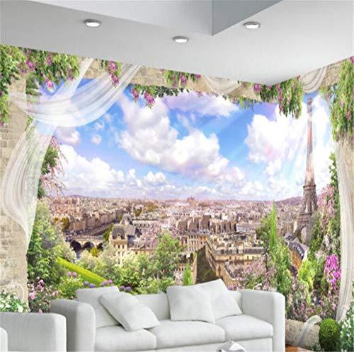 GBHL 3D Europäischen Fenster Paris Landschaft TV Hintergrund dekorative Malerei Foto Wandaufkleber Tapete, 350x245 cm (137.8 von 96.5 in) (Foto Kulissen Von Paris)