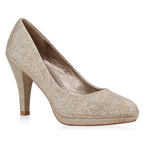 Klassische Damen Pumps Elegante High Heels Glitzer Stilettos Damen Velours Schuhe 39716 Bronze 40 Flandell - Bronze Pumps Heels