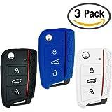 Keycarry Autoschlüssel-Abdeckung/Halter aus Silikon–Universal-Zubehör für Volkswagen VW Golf 7MK7Skoda Octavia 3A7, 3 Stück