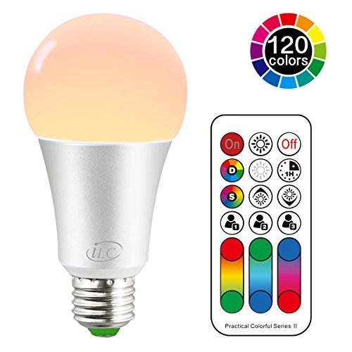 iLC Ampoule Led E27 RGB Changement de Couleur, Ampoules Led Dimmable Blanc chaud (2700K) 10W - Equivalence incandescence 60W,  Lampe Led Angle de Faisceau 270°,900 Lumen,85CRI Super high Display, Vis Douille,Lumiere led Lumière d'humeur - Double mémoire - 120 choix de couleurs- Timing Télécommande infrarouge incluse