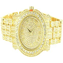 Diamond & Co. Herren Ice King Armbanduhr gelbgold-finish Synthetik-Diamanten klassische Armbanduhr Gold