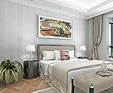 TX NEIYI Europäische Reis Graue Vertikale Streifen Tapete Mode Vlies Einfache Dreidimensionale 3D Wohnzimmer Schlafzimmer Hotel Licht Beige Tapete,Lightgrey