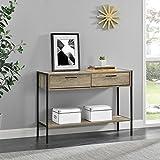 [en.casa]® Konsolentisch mit 2 Schubladen und Ablagefläche - 73x100x35cm - Schwarz / Holzfarben