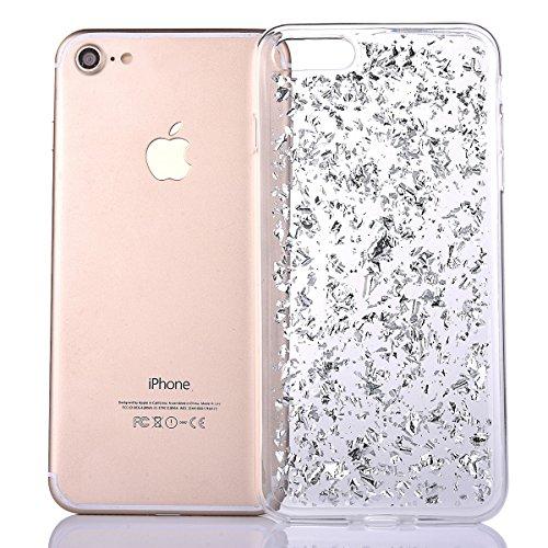iPhone 7 Custodia Sveglio, Soft TPU Gel Cover per iPhone 7, MAOOY Shell Placcatura Edge in Lucido di Cristallo di Scintillio Strass Shock Absorption Protettiva Trasparente Ultra Sottile Chic Clear Bum Argento