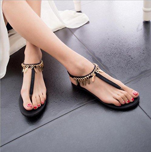 DM&Y 2017 paillettes stile europeo e americano perline sandali romani dei sandali di modo Bohemian selvatico Black