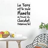 wandaufkleber kinderzimmer sterne La Terre Est La Seule Planète Où Trouver du Chocolat für den Speisesaal der Küche
