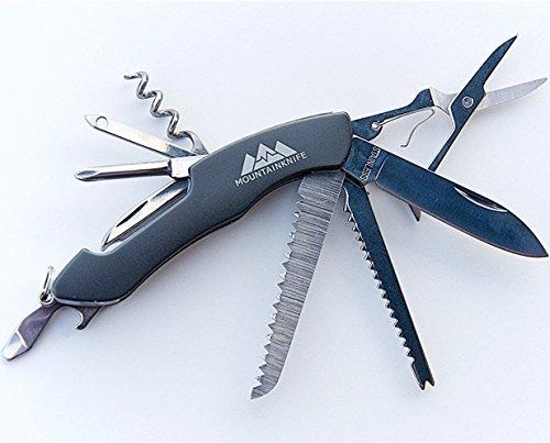 Mountainpulse - Premium Schweizer Taschenmesser - Multifunktionsmesser mit 11 Tools & Funktionen - Werkzeug für unterwegs