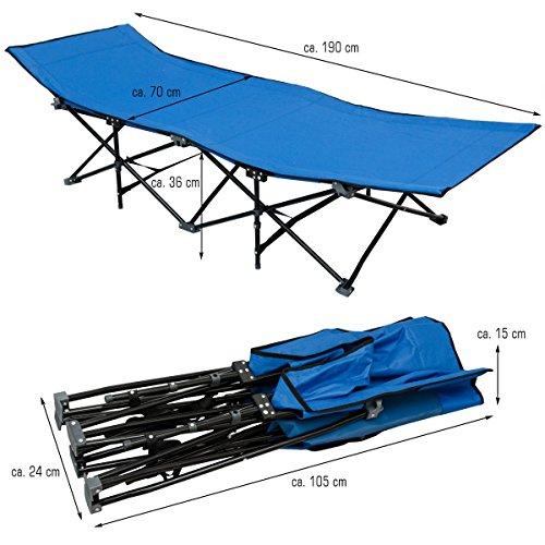 Amanka lettino da campeggio per abbronzarsi branda brandina letto da campo struttura in acciao - Letto da campeggio ...