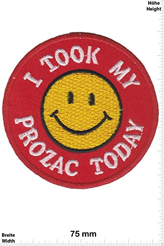 patches-i-took-my-prozac-today-smiley-smilie-fun-patches-adult-vest-iron-on-patch-applique-embroider