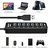 Atolla Powered USB 3.0 Hub 7 Ports Multi Port USB Splitter with Switches + 1 Smart Charging Port(Max:2.4A) with 5V/3A Power Supply Adapter (Black)