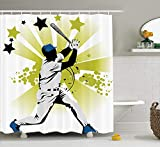 XIAOYI Sports Decor Shower Curtain Set, Pitcher Hits The Ball Fast Stars All Over The Bat Speed Strong Game Motion Team Graphic, Bathroom Accessories, 60x72 Inches, White Green