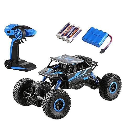 Arshiner Remote Control Rock Crawler Geländewagen Ferngesteuerte Auto 4WD 2.4Ghz wiederaufladbare Batterien enthalten (Blau)