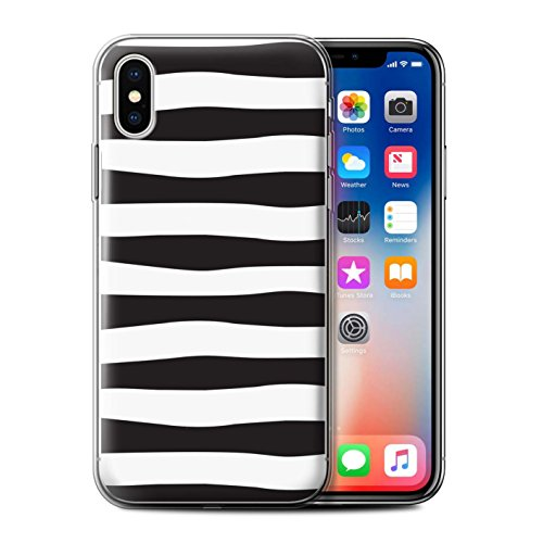 Stuff4® Gel TPU Hülle/Case für Apple iPhone X/10 / Zebra Reifen Muster/Skandinavische Mode Kollektion - Iphone 4-zebra